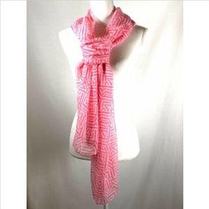J. Crew women's scarf pink white print rectangular